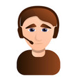sad call center man icon cartoon style vector image vector image