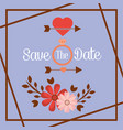 save the date flower ring arrow romantic card vector image