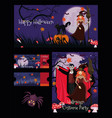 set for halloween party ticket banner flyer vector image