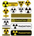 set nuclear icons radiation hazard warning vector image