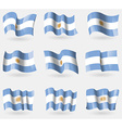 Set of Argentina flags in the air vector image vector image