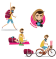 Set of backpackers vector image vector image