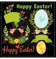 set of floral elements eggs on the chalkboard vector image