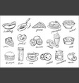 set of food and drinks icons in sketch vector image