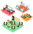 set of isometric interiors of fast food restaurant vector image vector image