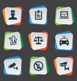 set of simple police icons vector image vector image