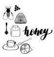 set of sketched honeycombs beehive vector image