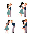 set of young couple man and woman kissing vector image vector image