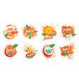 set orange juice splatter logos on white vector image vector image
