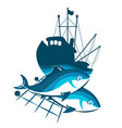 silhouette of fishing trawler vector image vector image