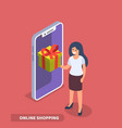smartphone and gift box with girl vector image