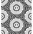 Striped Circles Geometric Optical Black and White vector image vector image