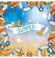 Summer Card with Sea Shells Anchor Lifeline vector image