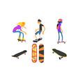 teens skateboarders and skateboards set active vector image
