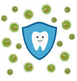 tooth character in protective shield germs vector image