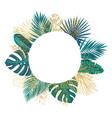 tropical leaves circle frame golden leaf and vector image