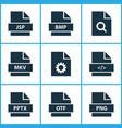 types icons set with directory software search vector image vector image