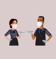 waiters wearing protective face mask at work vector image