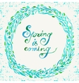 Watercolor circular floral wreath in a blue colors vector image vector image