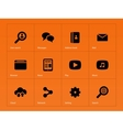 Web icons on orange background vector image