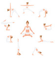 women yoga poses isolated on white background vector image vector image
