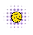 Yellow volleyball ball icon comics style vector image vector image