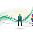 businessman sitting in the wave line vector image
