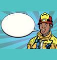 african american firefighter portrait comic vector image vector image