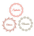 autumn wreath set hand drawn leaves vector image vector image