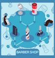 barber shop isometric concept vector image
