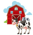 Barn and cow vector image vector image