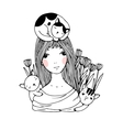 Beautiful young girl cats and tulips vector image vector image