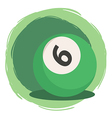 Billiard Ball Number 6 Green vector image vector image