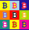 bitcoin sign pop-art style colorful icons vector image