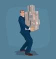 businessman or manager carries mail parcels vector image vector image