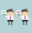 Businessman with a sign Yes and no vector image vector image