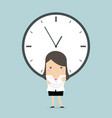 businesswoman with a big clock vector image vector image