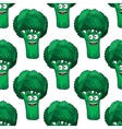 Cartoon broccoli seamless pattern vector image vector image