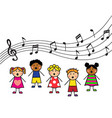 cartoon children sing vector image vector image