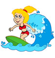 cartoon surfer girl vector image vector image