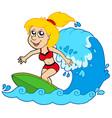 cartoon surfer girl vector image