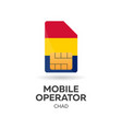 chad mobile operator sim card with flag vector image vector image