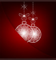 christmas red background with two white balls vector image vector image