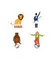 Circus flat icons set vector image