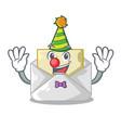 clown envelope opened on shape white mascot vector image