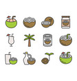 coconut filled outline icon editable stroke vector image vector image
