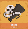 colorful poster of cinema time with film reel and vector image vector image