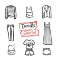 doodle women clothes icons set Hand drawn vector image vector image