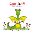 dragon reading a book surrounded by roses vector image vector image