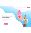 flat isometric landing page template for vector image vector image